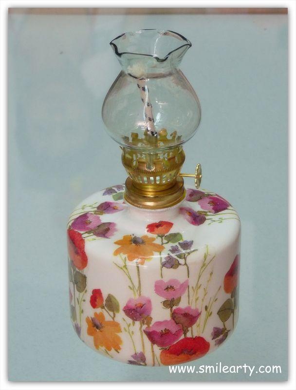 decoupage on an oil lamp