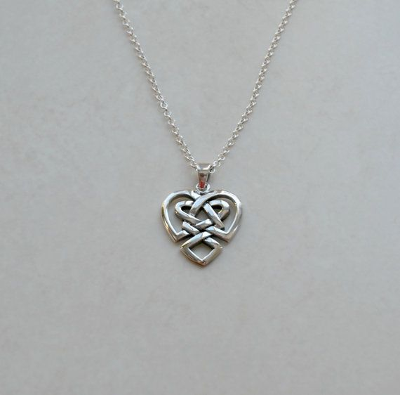 Celtic heart necklace, sterling silver heart pendant, gift