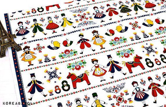 Polka Dance Fabric Polka People Fabric 43x35 100% by KoreaBacol