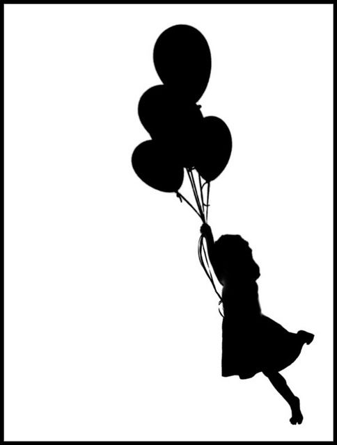 silhouette of girl with balloons by Adrienne Frankenfield, via Flickr