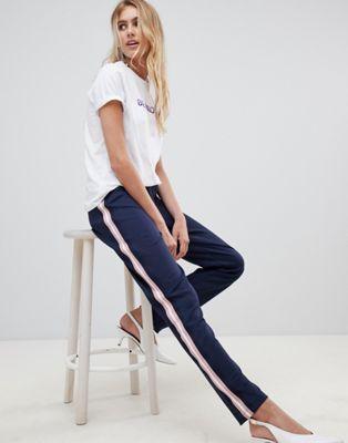 pieces julia side stripe pants  side stripe fashion
