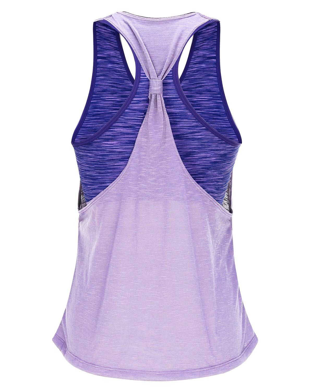 FAFAIR Workout Tank Tops for Women with Built in Bra Tanks Exercise Yoga Gym Shirts