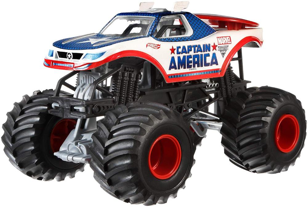 Hot Wheels Monster Jam 1 24 Die Cast Captain America Vehicle 46 Hot Wheels Monster Jam Monster Trucks Monster