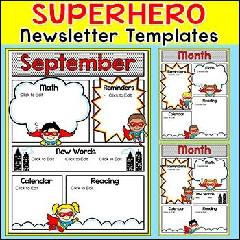 Superhero Theme Newsletter Template  Editable For Any Language