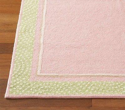 New 5 X 8 Polka Dot Border Rug Pink Kids Wool Loop Pile