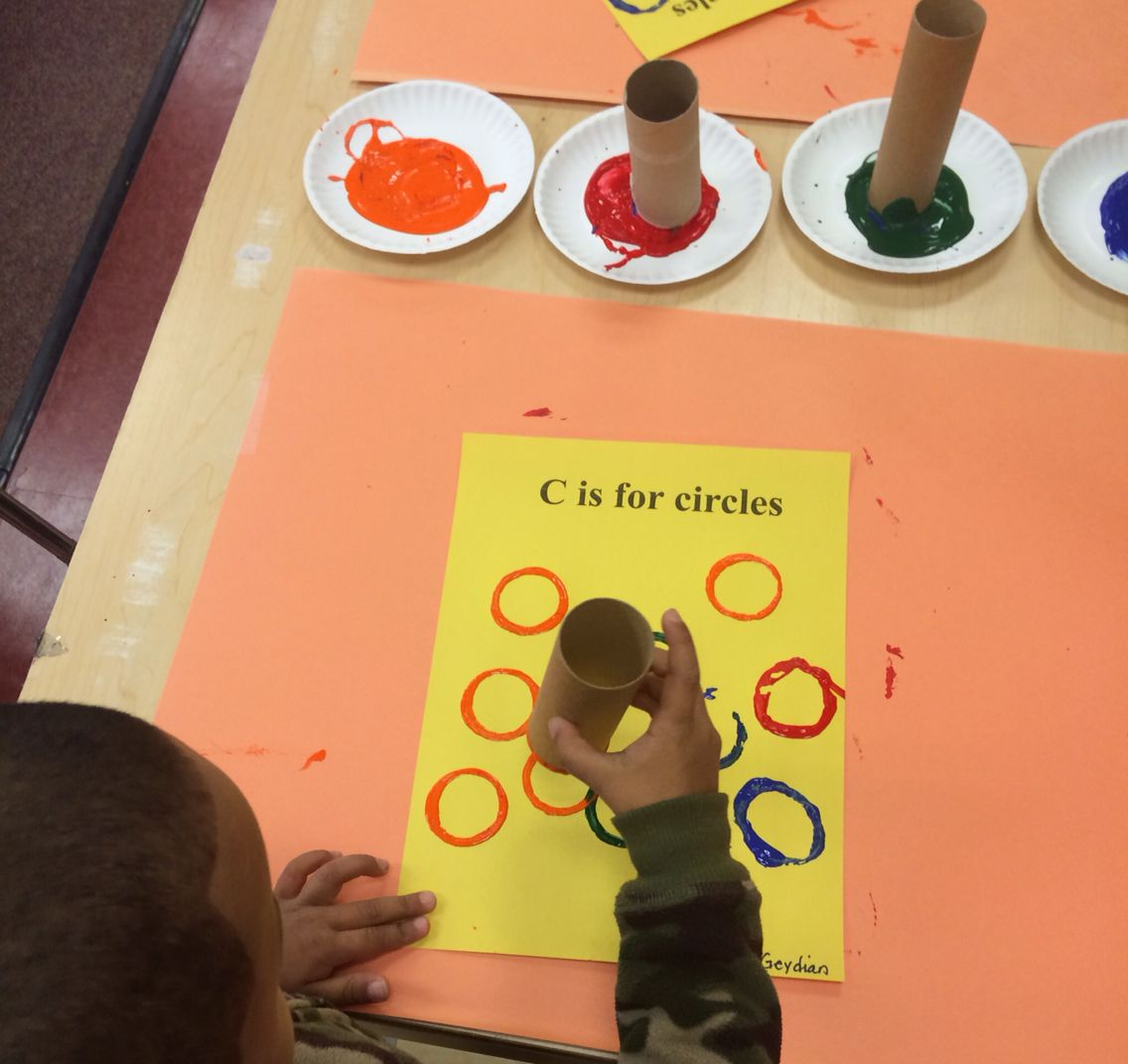 Circle art.  Toilet paper rolls and paint= fun easy activity for circles