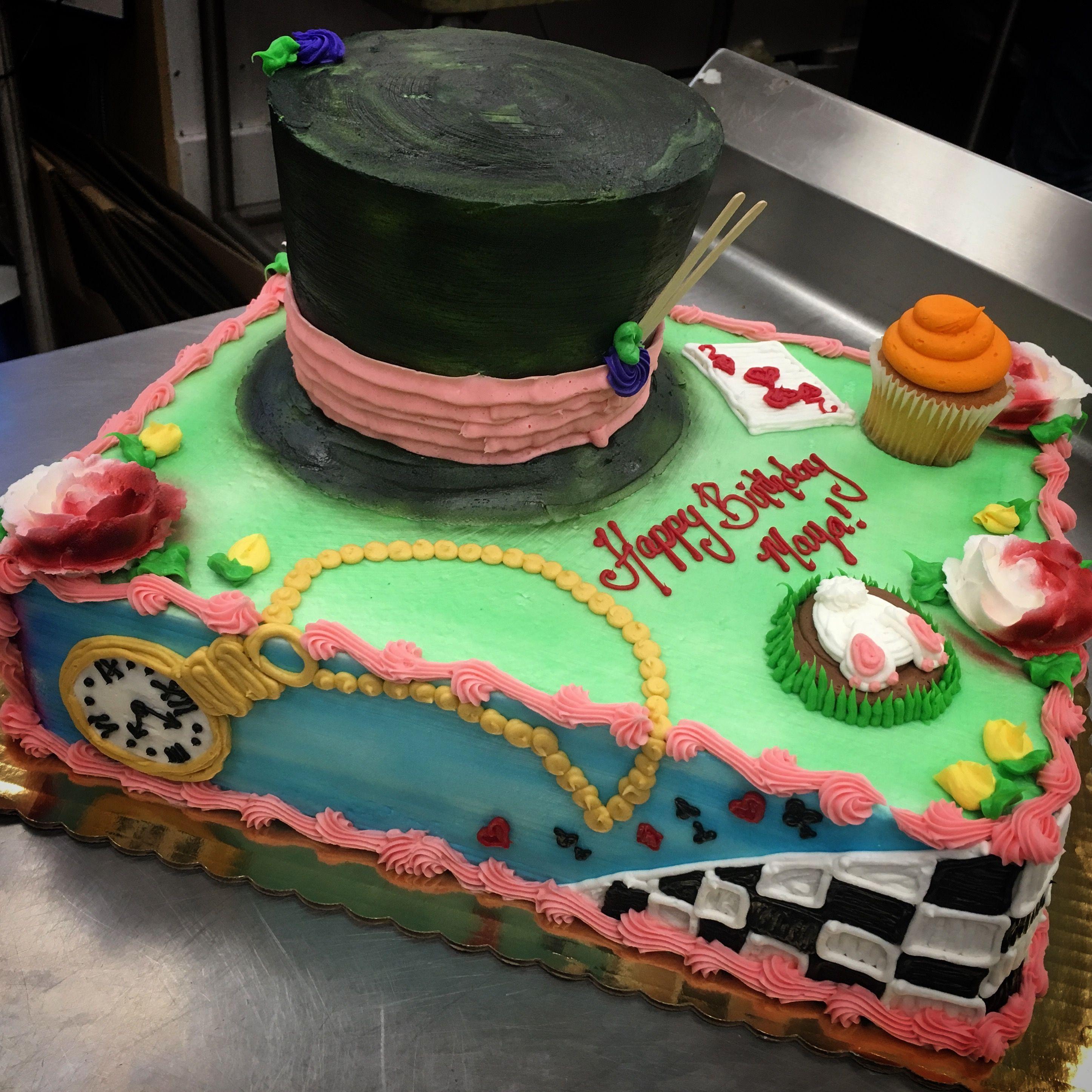 Alice And Wonderland Themed Sheet Cake My Work