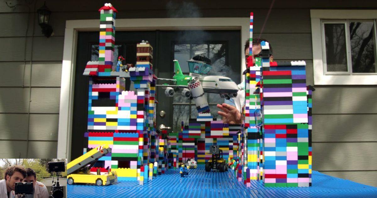 Toy plane crashes into tiny Lego city in explosive slow motion ...