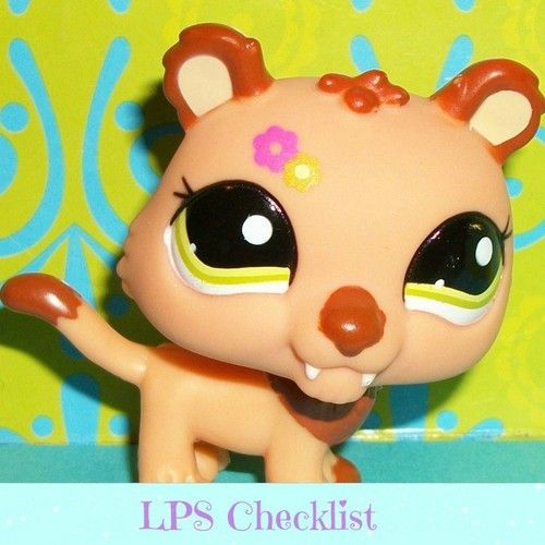 Littlest Pet Shop~#2227 ORANGE JAGUAR/SABERTOOTH TIGER Flowers.  Visit mylittlestpetshops.com for more pets!