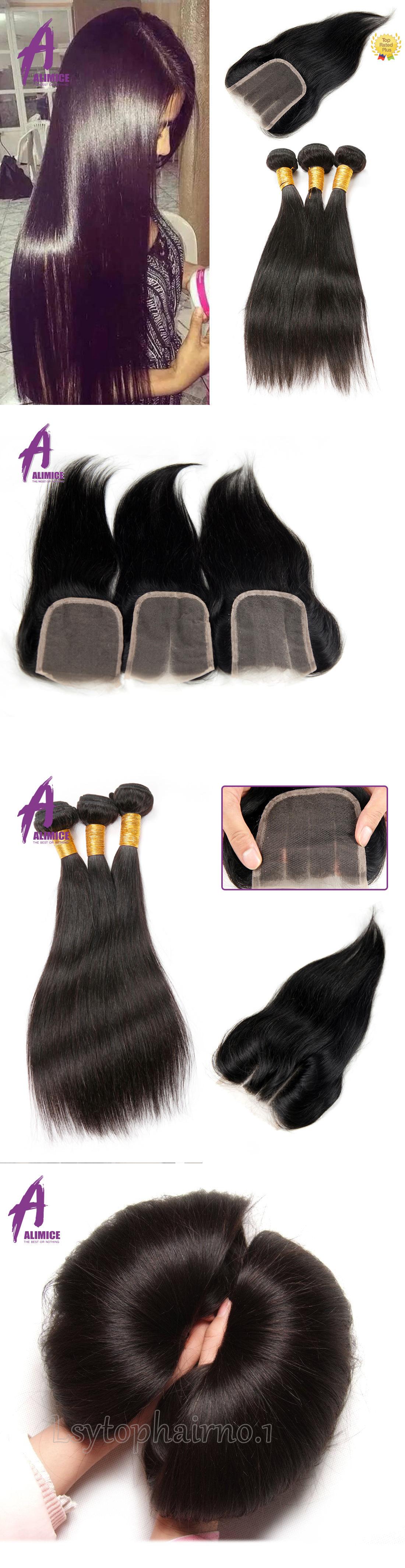 Hair Extensions Peruvian Hair With Lace Closure Human Hair