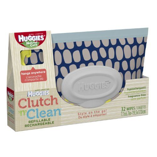 Count 32 Huggies Natural Care Baby Wipes Clutch N Clean Carrying Case Color//Styl