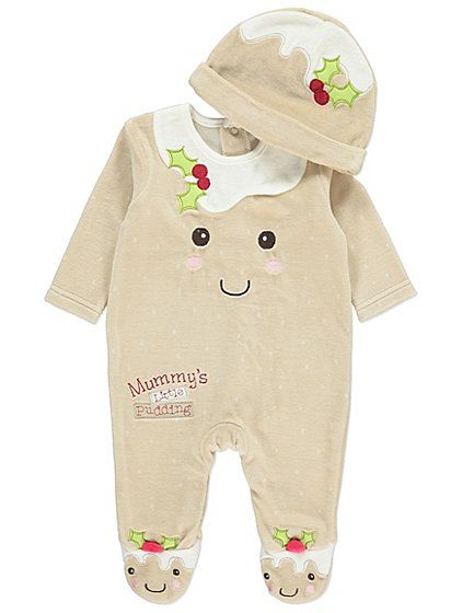 f4efcaf9cbf42 Christmas Pudding All in One and Hat | Baby clothes | Baby girl ...