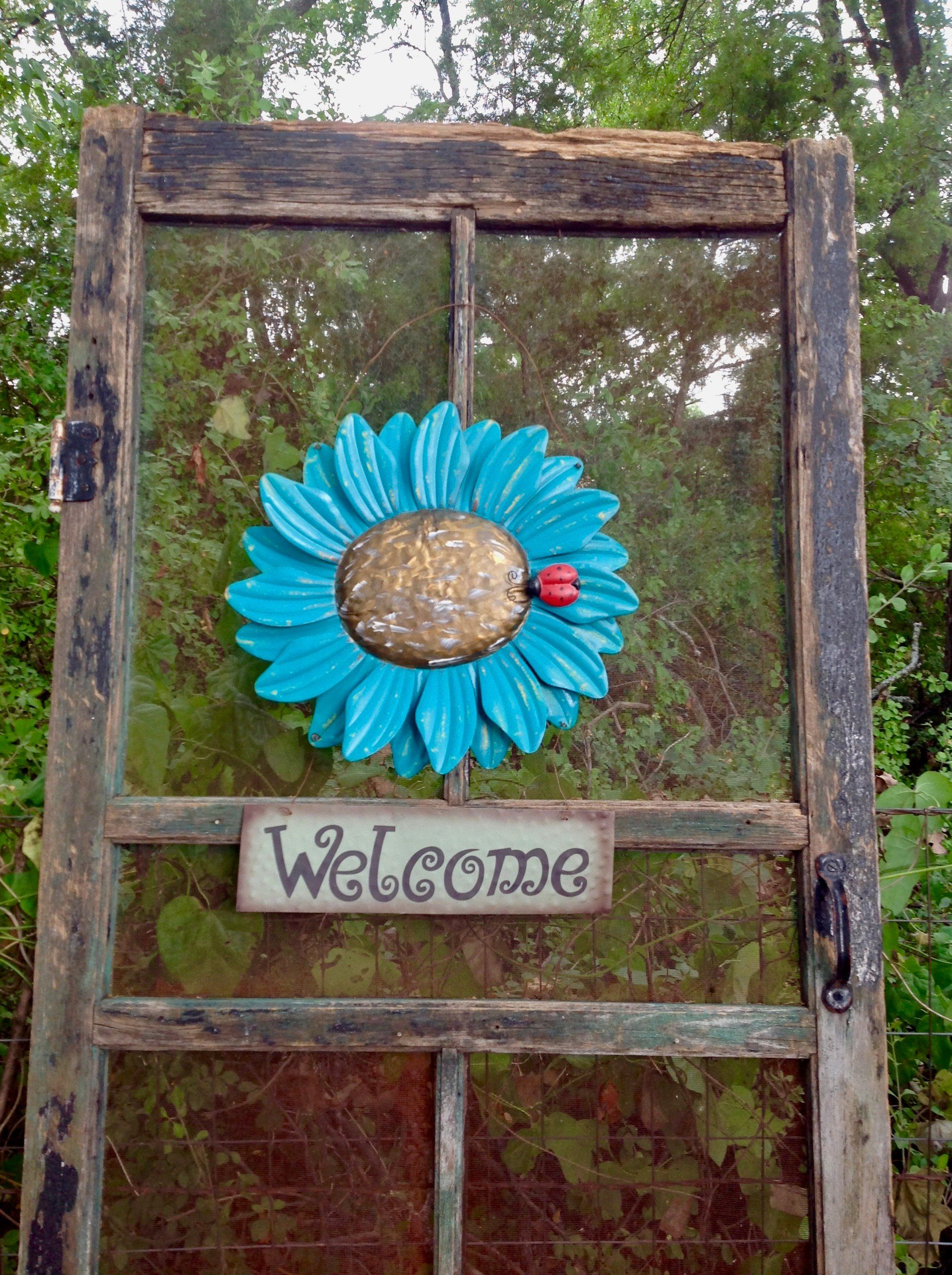 Wire Hanging Sunflower w/a Welcome Sign - Large Turquoise Blue Metal ...