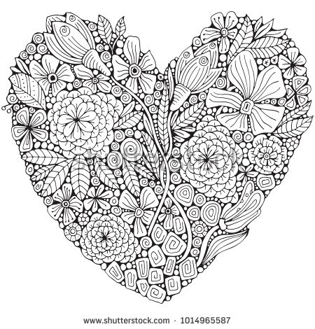 Heart Shaped Pattern For Adult Coloring Book Floral Retro Doodle Vector