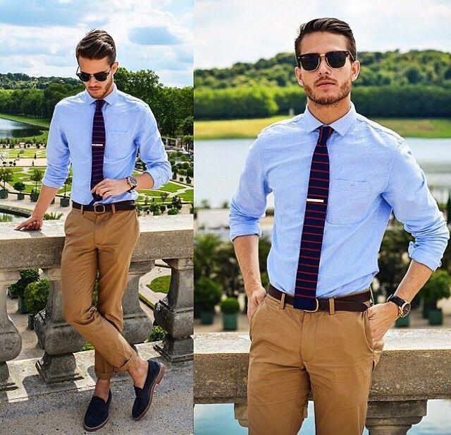 Light Blue Shirt Sand Brown Pants Mens Fashion Smart
