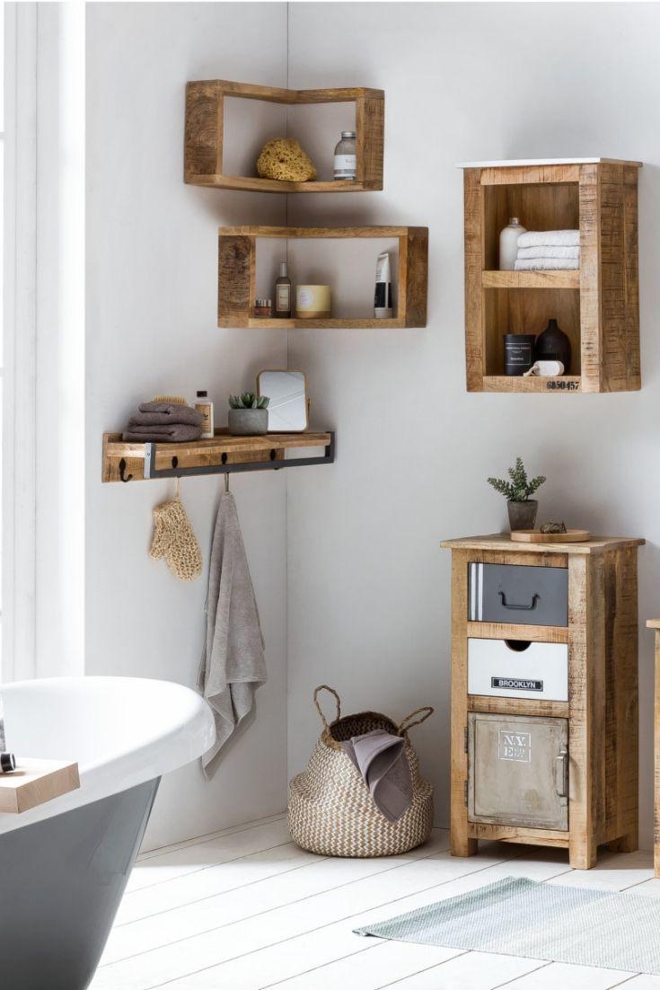 Woodkings Schrank Pune Badezimmer Ideen Badmobel Badschrank Holz Rustikal Badregal Schm Badezimmer Regal Holz Badezimmer Regal Badezimmer Regal Schmal