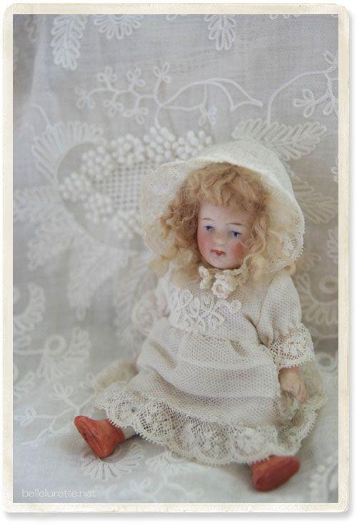 オールビスクドール ミニョネット - 【Belle Lurette】ヨーロッパ フランス アンティークレース リネン服の通販