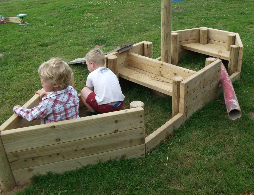 New Pirate Ship, Play Boat, Fishing Boat, In Pre School Outside Garden Area,