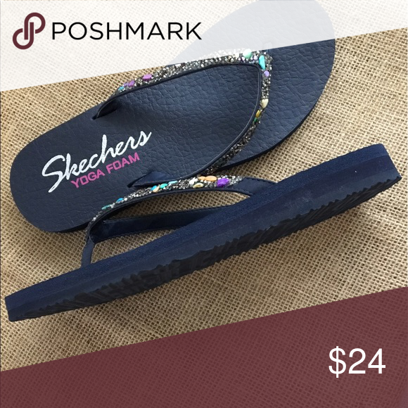 New Skechers Women S Blue Yoga Mat Flip Flops 8 Skechers Women