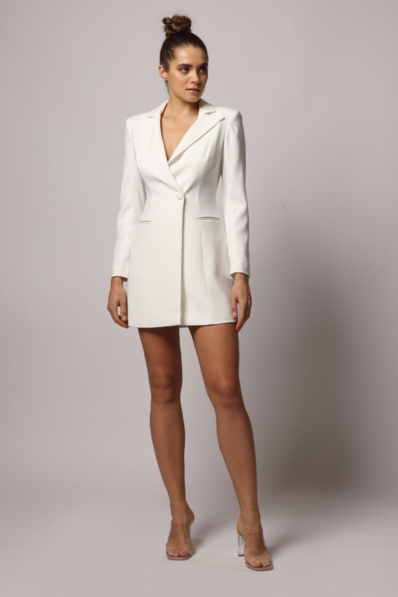 Ace Mini Dress Tuxedo Dress White Dresses Blazer Dress [ 2400 x 1600 Pixel ]