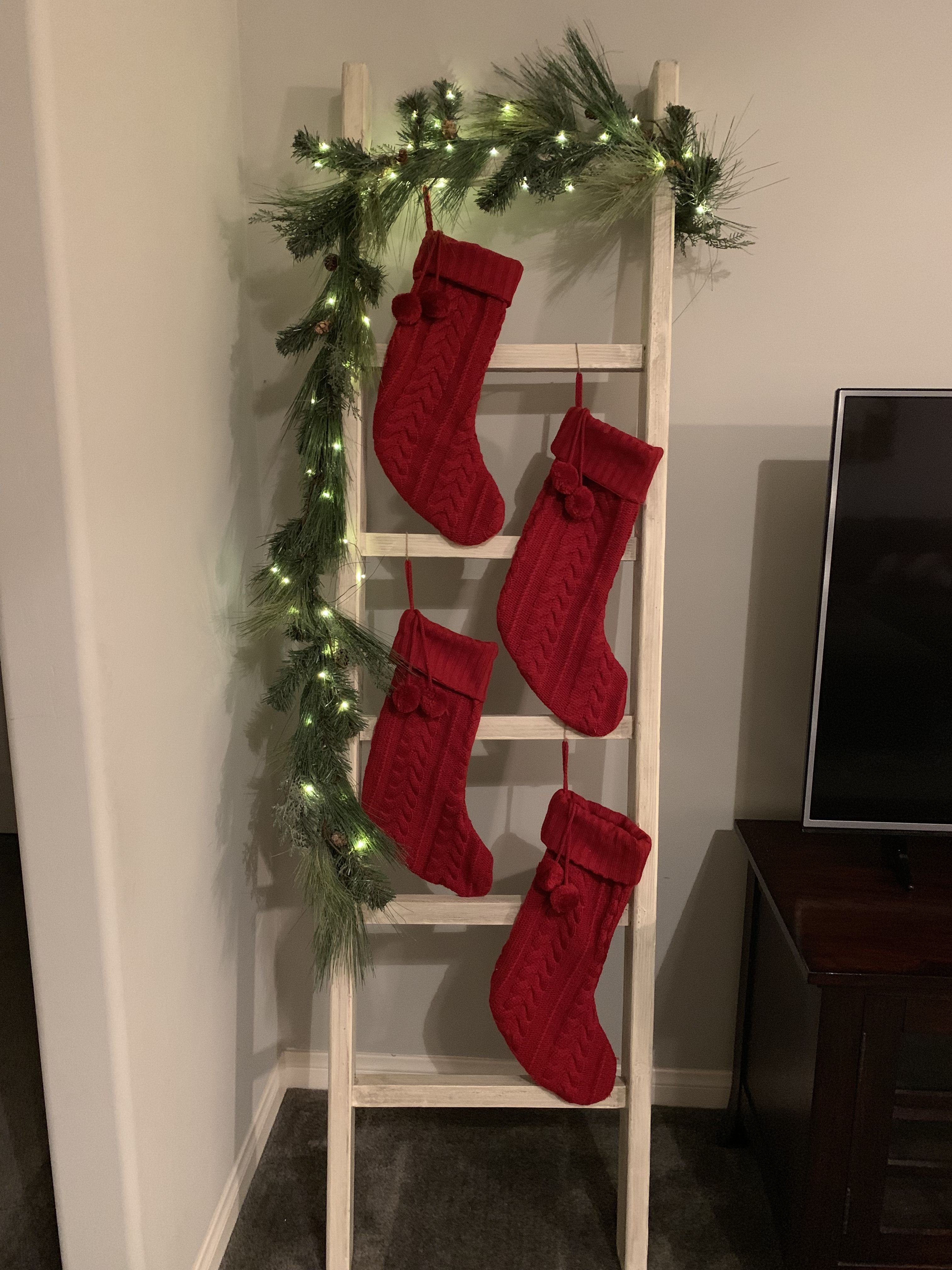 No Mantle No Problem Hanging Stocking Without A Fire Place Hanging Christmas Stockings Christmas Decor Diy Hanging Stockings