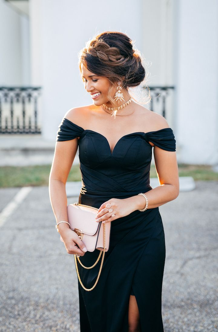 Holiday Party Style Glam Off The Shoulder Gown Hairstyle For