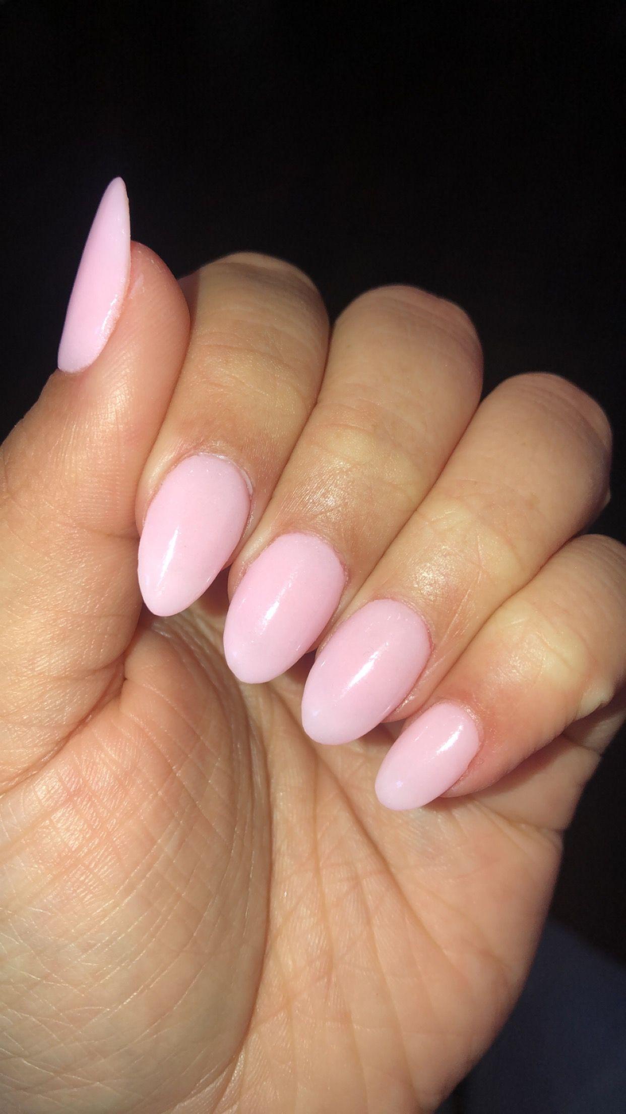 Light Pink Dip Powder Short Almond Nails In 2020 Short Almond Nails Almond Nails Pink Almond Nails
