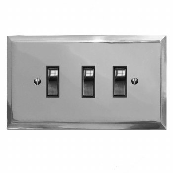 Mode Rocker Light Switch 3 Gang Polished Chrome & Black Trim