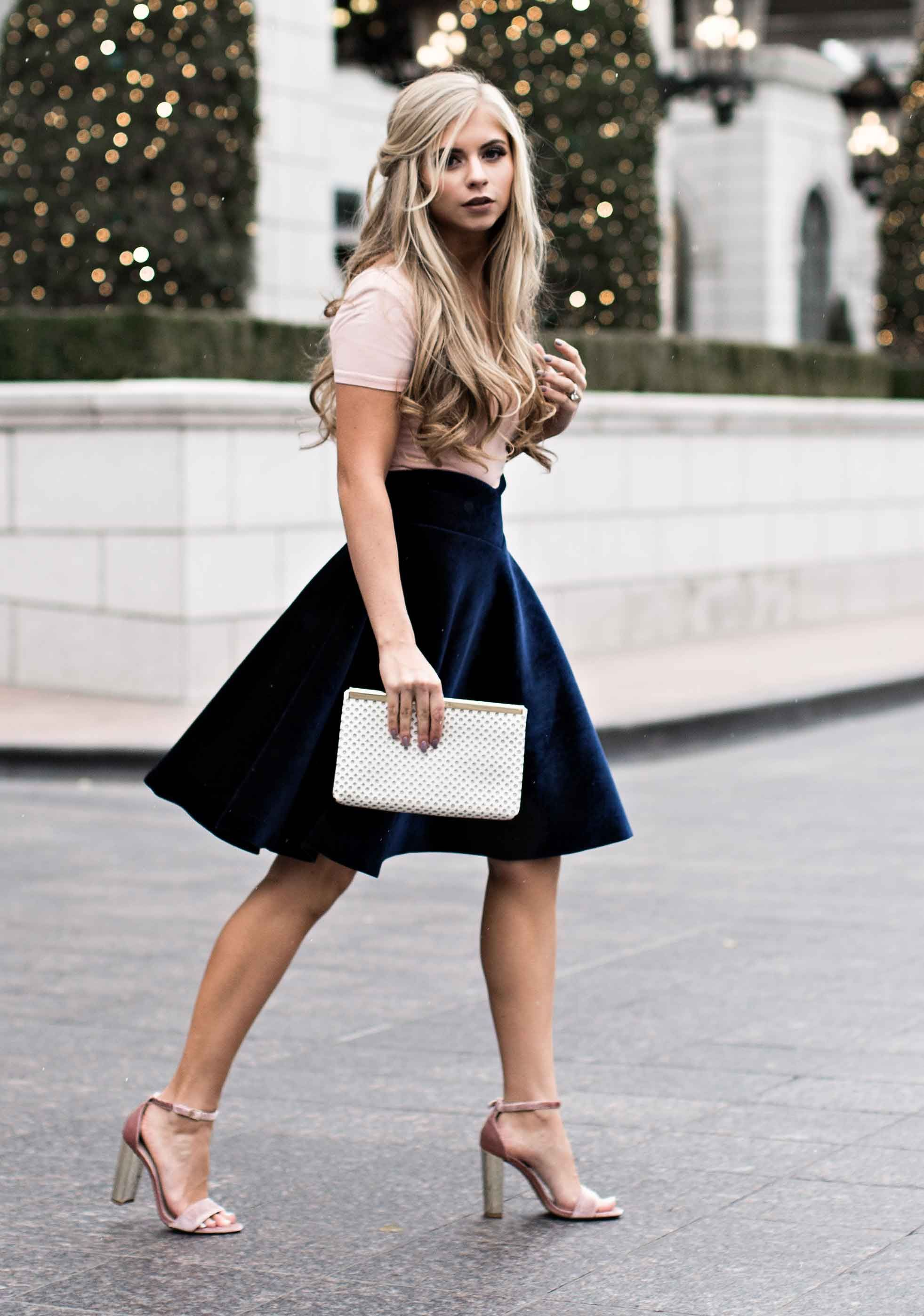 velvet skater skirt | fashion | Fashion, Holiday fashion ...