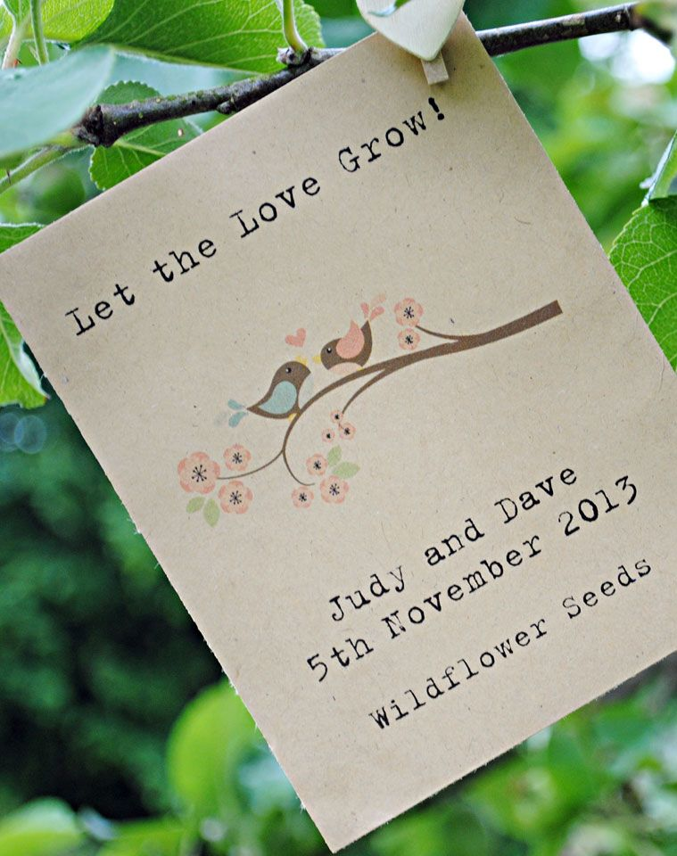 Love Birds On Branch Wildflower Seed Packet Favour