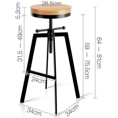 Artiss Adjustable Height Swivel Bar Stool - Black #vintageindustrialfurniture