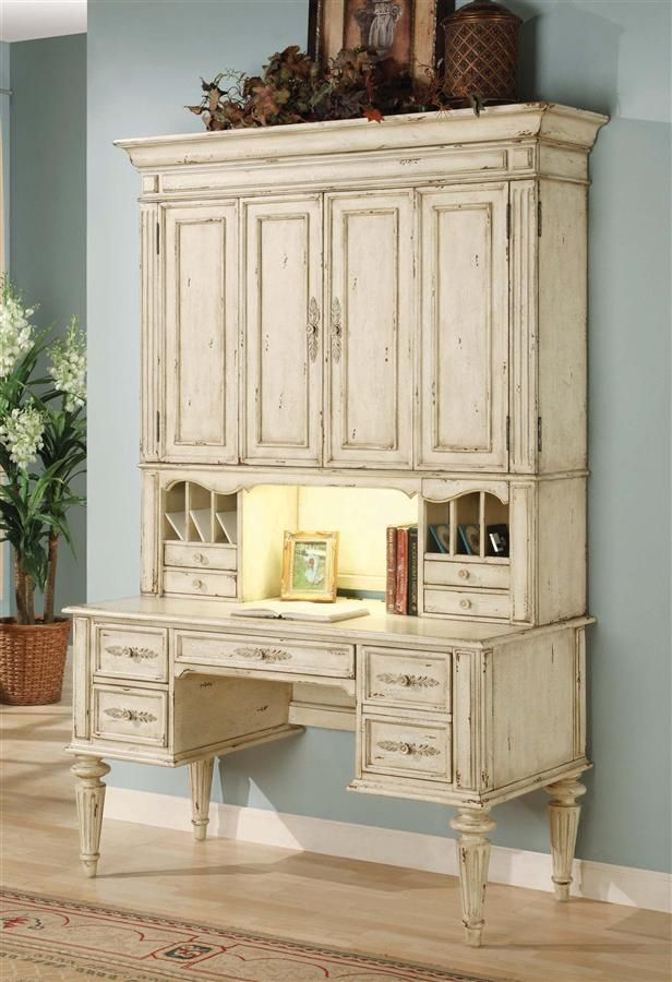 Hooker Furniture - Vicenza Desk w Hutch in Antique White Finish - Hooker Furniture - Vicenza Desk W Hutch In Antique White Finish