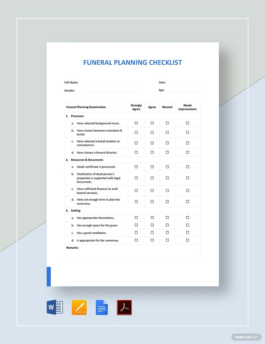 Funeral Planning Checklist Template in 2020 Funeral
