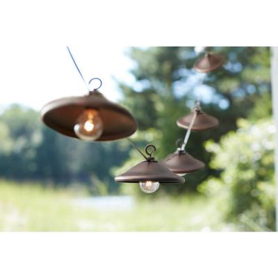 String Lights Home Depot Simple 8Light Outdoor Hanging Bronze Cafe Light With Bronze Metal Cover Review