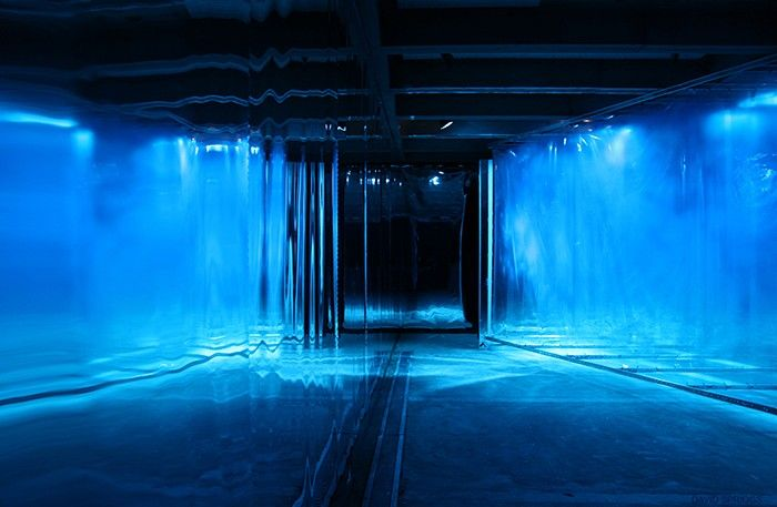 """""""Blue"""" by David Spriggs. An installment made with acrylic paint on multiple layers of transparent film, hung in a fully mirrored room at the Abrons Arts Center Gallery in NYC, New York (© 2012)."""