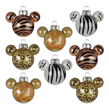 Mickey Mouse animal print baubles.
