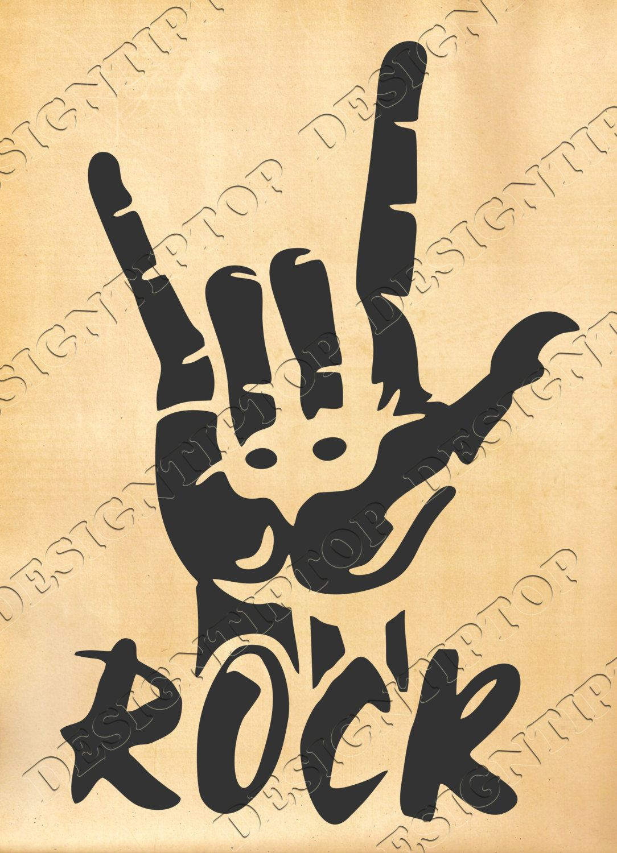 Rock and roll svg, Rock digital files, Rock cut file, sign of rock ...