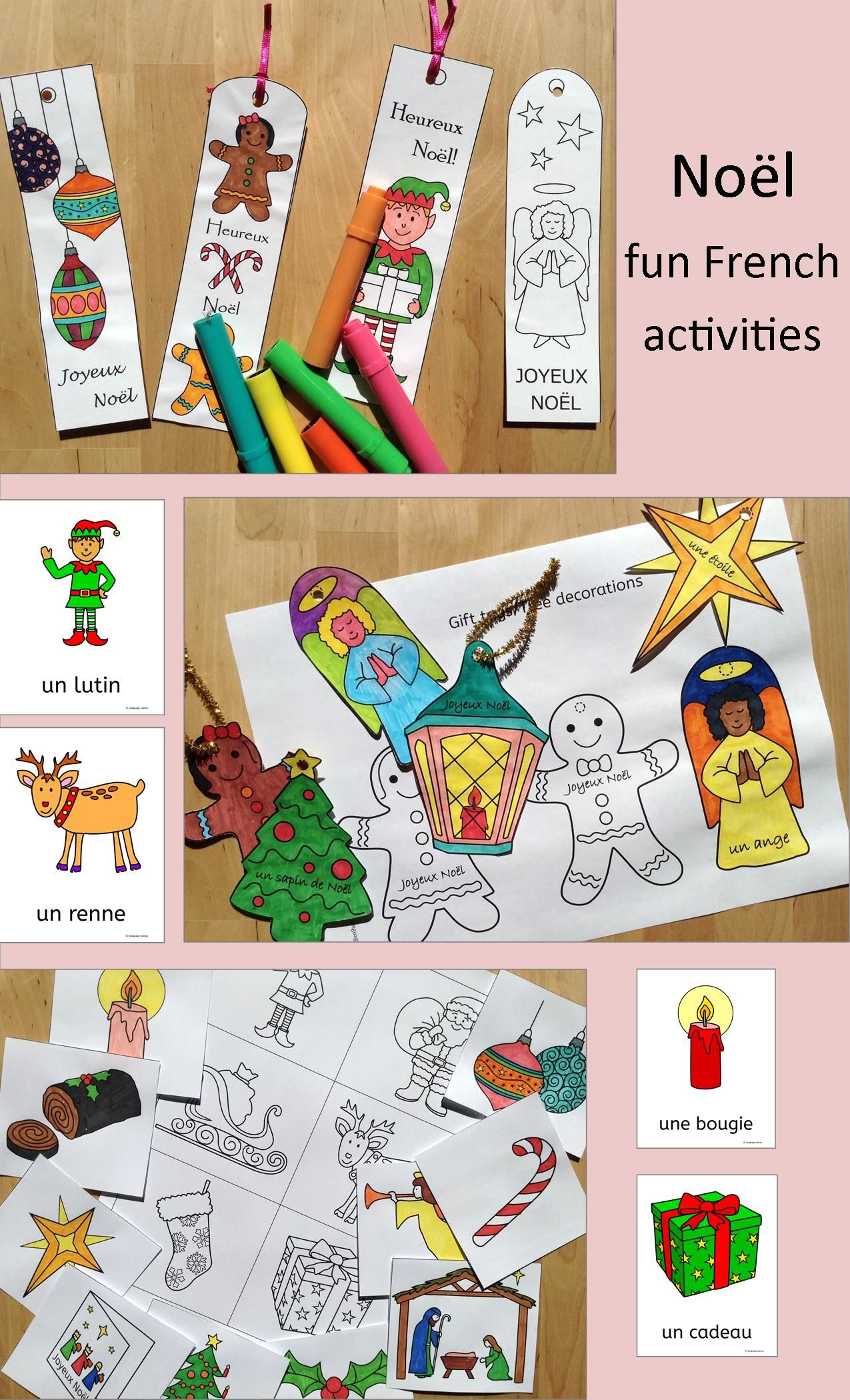 French Christmas  Noel  Fun Activities, Worksheets, Word Wall,