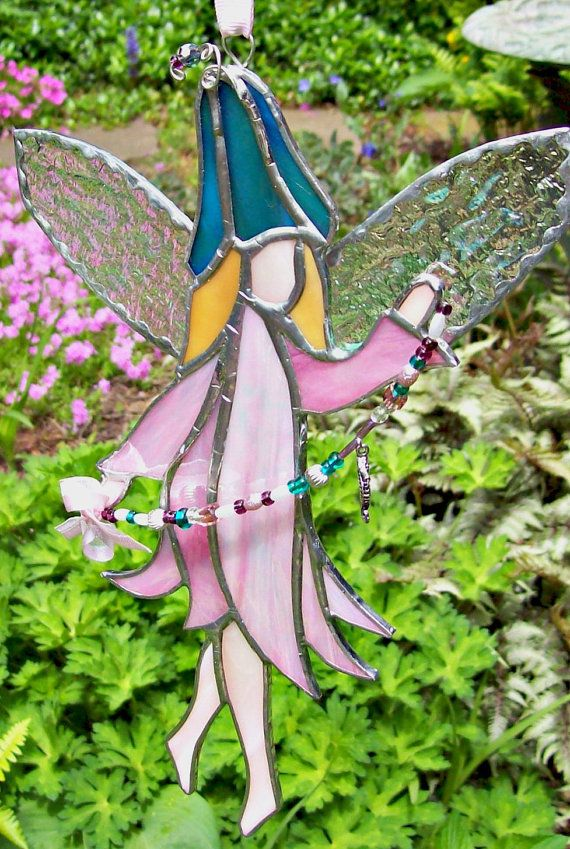 stained glass handmade flower fairy suncatcher window decoration