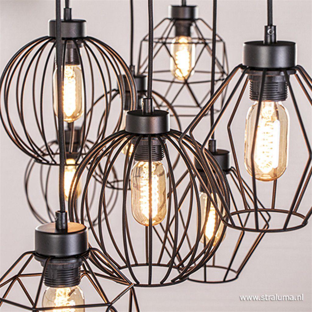 Grote Hanglamp Met 8 Draadlampen Www Straluma Nl Hanglamp Eiland Verlichting Hal Verlichting