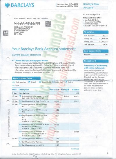 Barclays Bank Statement Psd  Bank Statement Psd