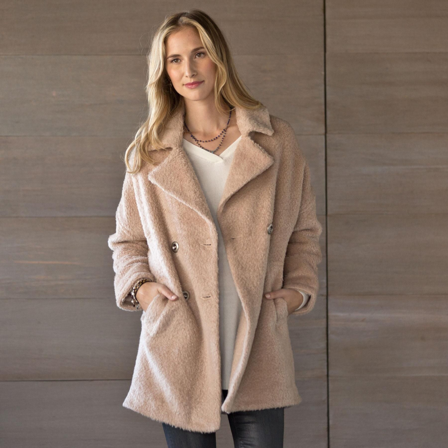 """QUINN OVERCOAT--A timeless, double-breasted overcoat with vintage appeal and the warmth and allure of lofty wool. Your new, go-to layer as temperatures drop. Fully lined. Wool/acrylic/nylon. Dry clean. Imported. Sizes S (4 to 6), M (8 to 10), L (12 to 14). Approx. 35""""L."""