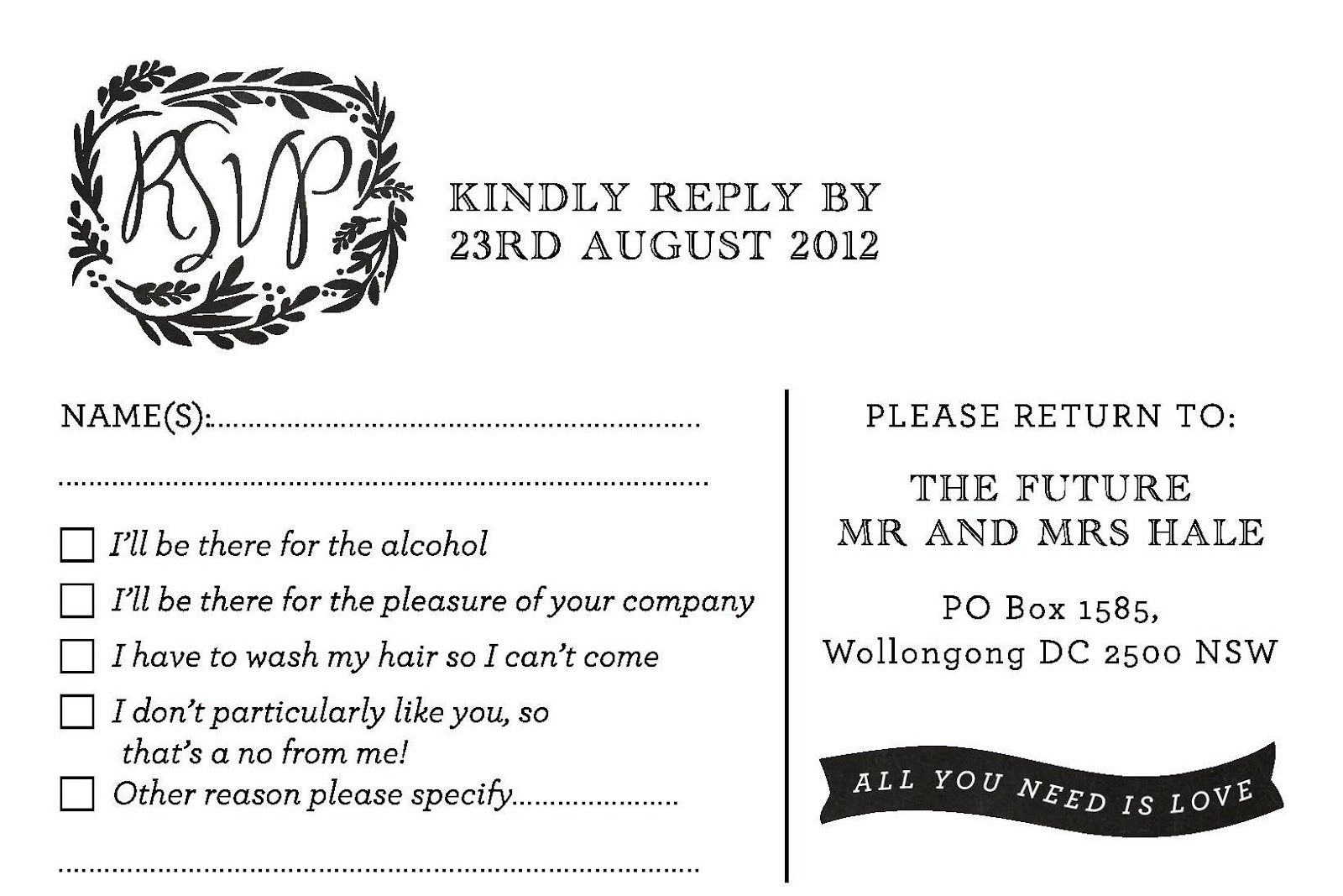 Funny Wedding Invitation Wording: Funny Wedding Rsvp Wording — Stock Image