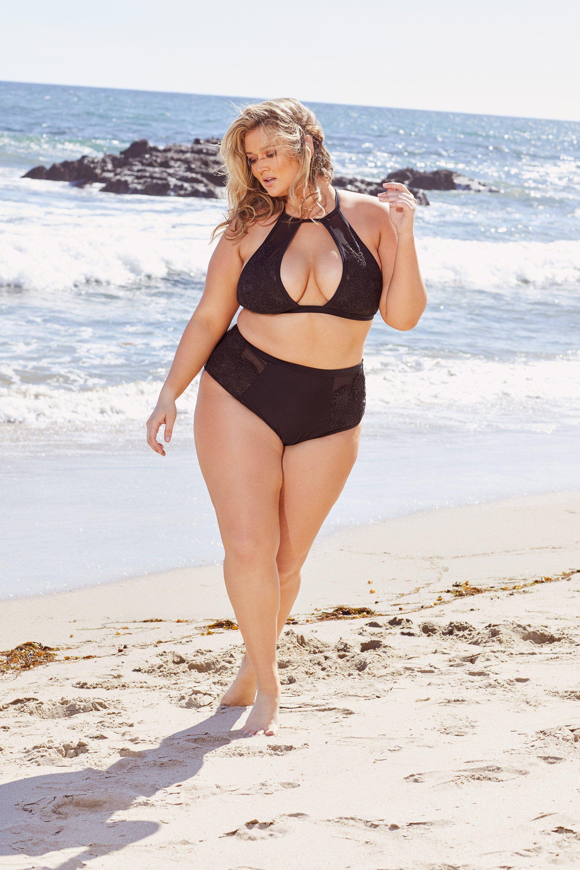 54fb6ef5e07 Hunter McGrady Plus Size/Curve Black High Neck Lace Panel Bikini Top - Playful  Promises