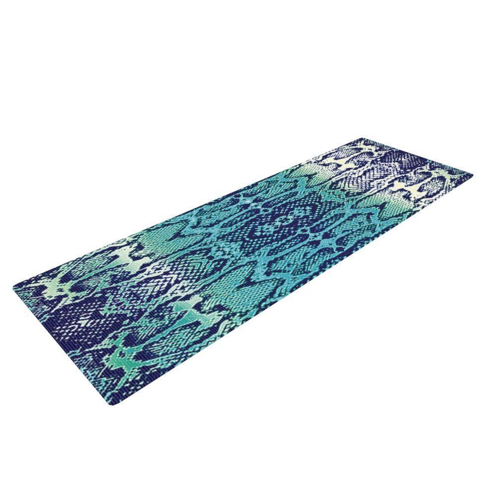 "Nina May ""Aqua Snake"" Blue Teal Yoga Mat"