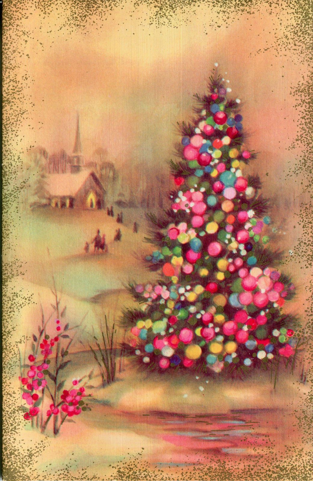 Vintage Quality Crest Christmas Card:Village Church with Christmas ...