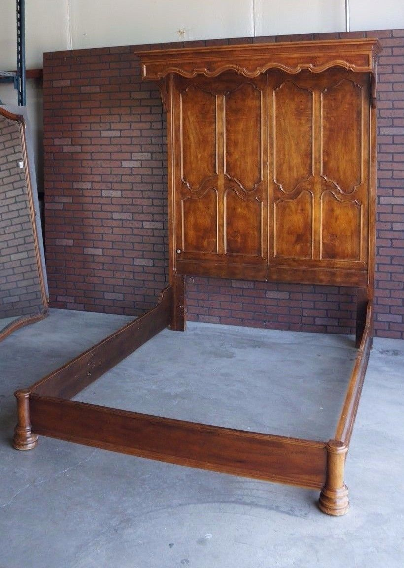 Queen Bed Frame / Canopy Panel Bed / French Provincial Bed