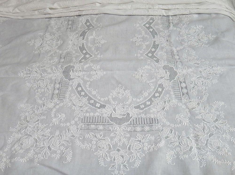 Vintage Madeira Heavily Embroidered Linen Banquet Tablecloth 133u201d Elegant  Work!