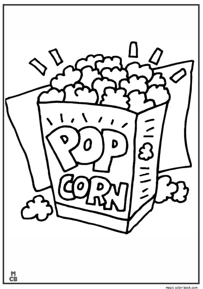 pop corn food coloring pages magic color book