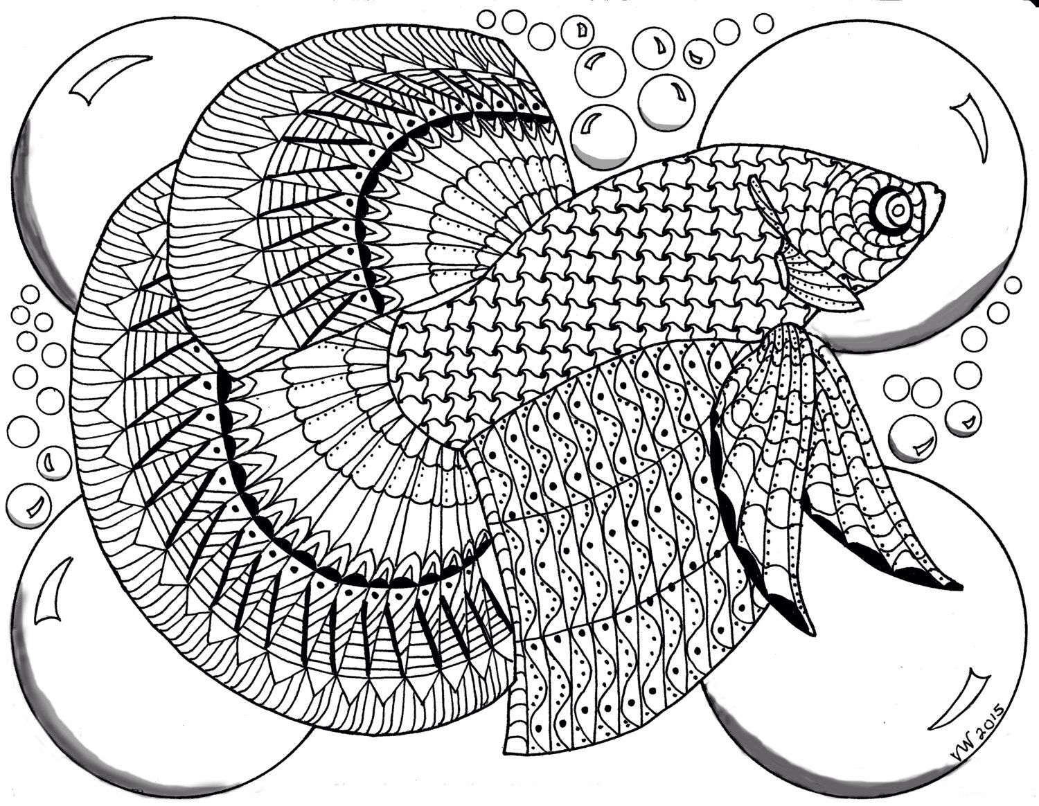 beta fish zentangle coloring page by inspirationbyvicki on etsy